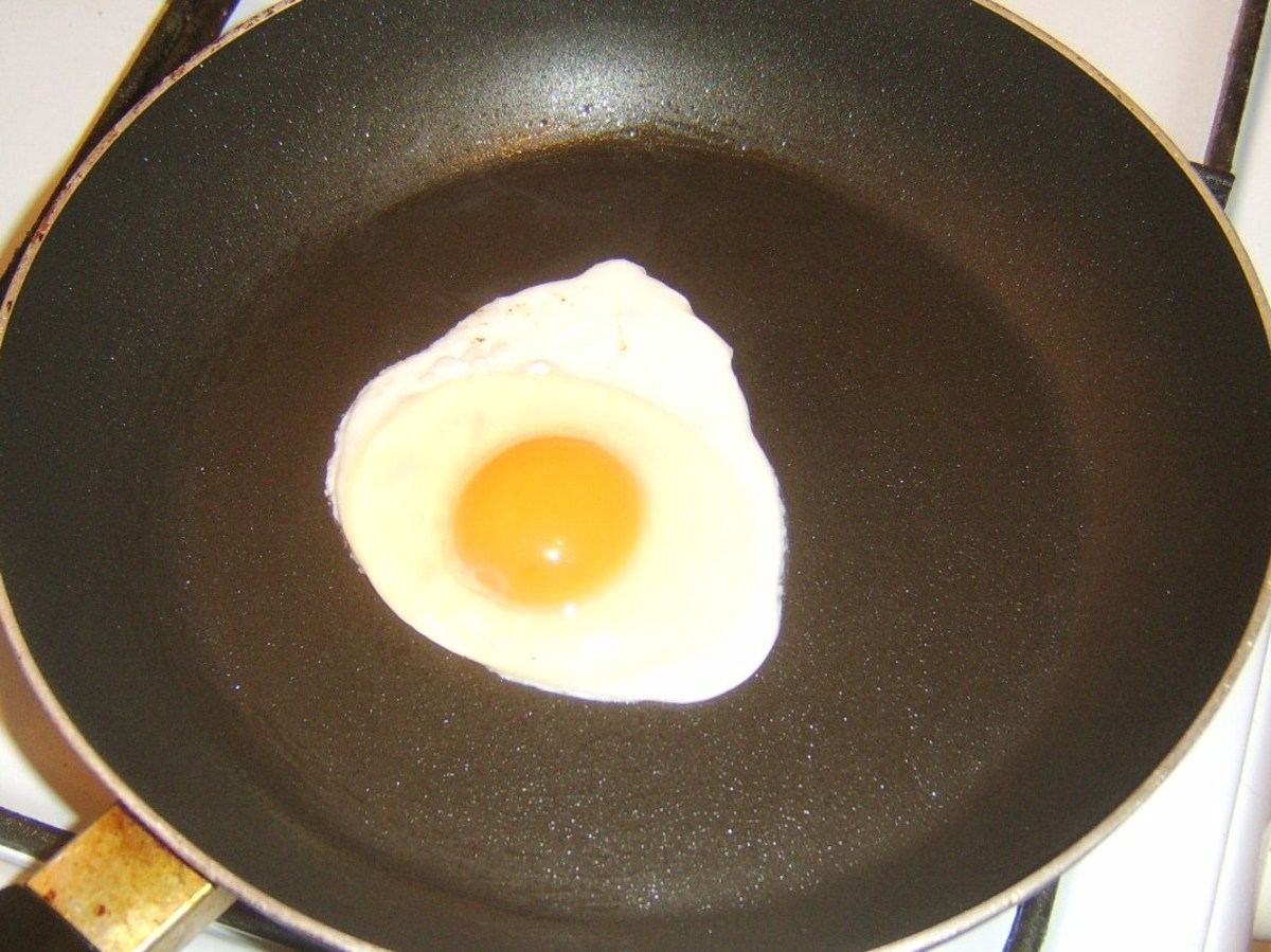 Egg is gently fried