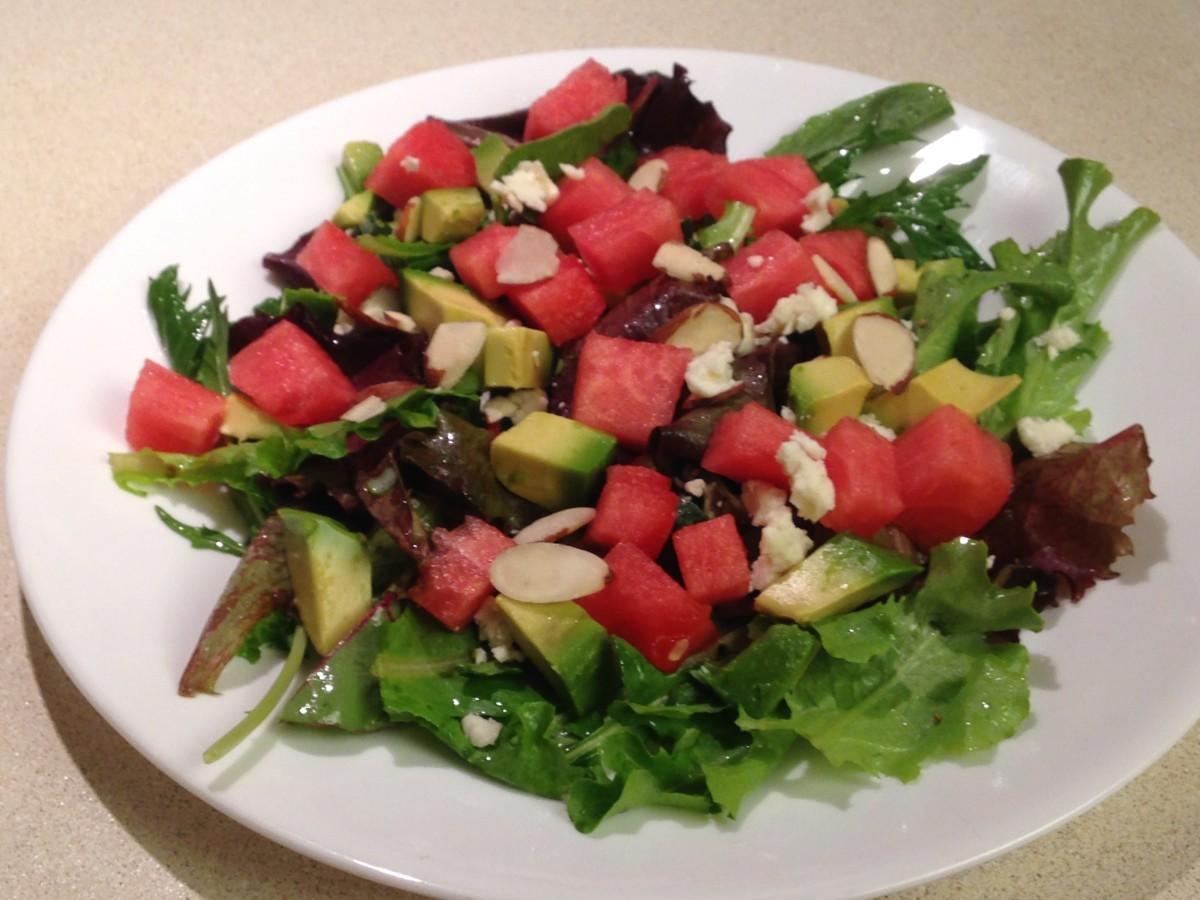 Watermelon Salad with avocado and gorgonzola