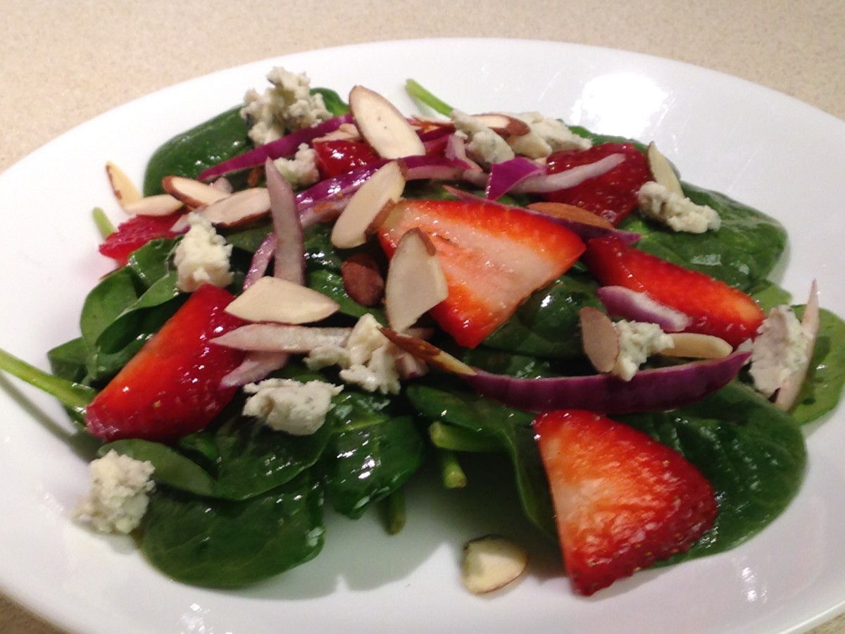 Strawberry Spinach Salad with gorgonzola cheese, red onions, and sliced almonds