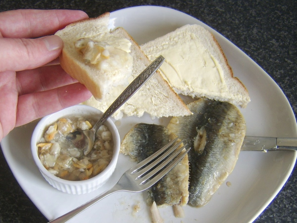 Tucking in to jellied conger eel and cockles with herring
