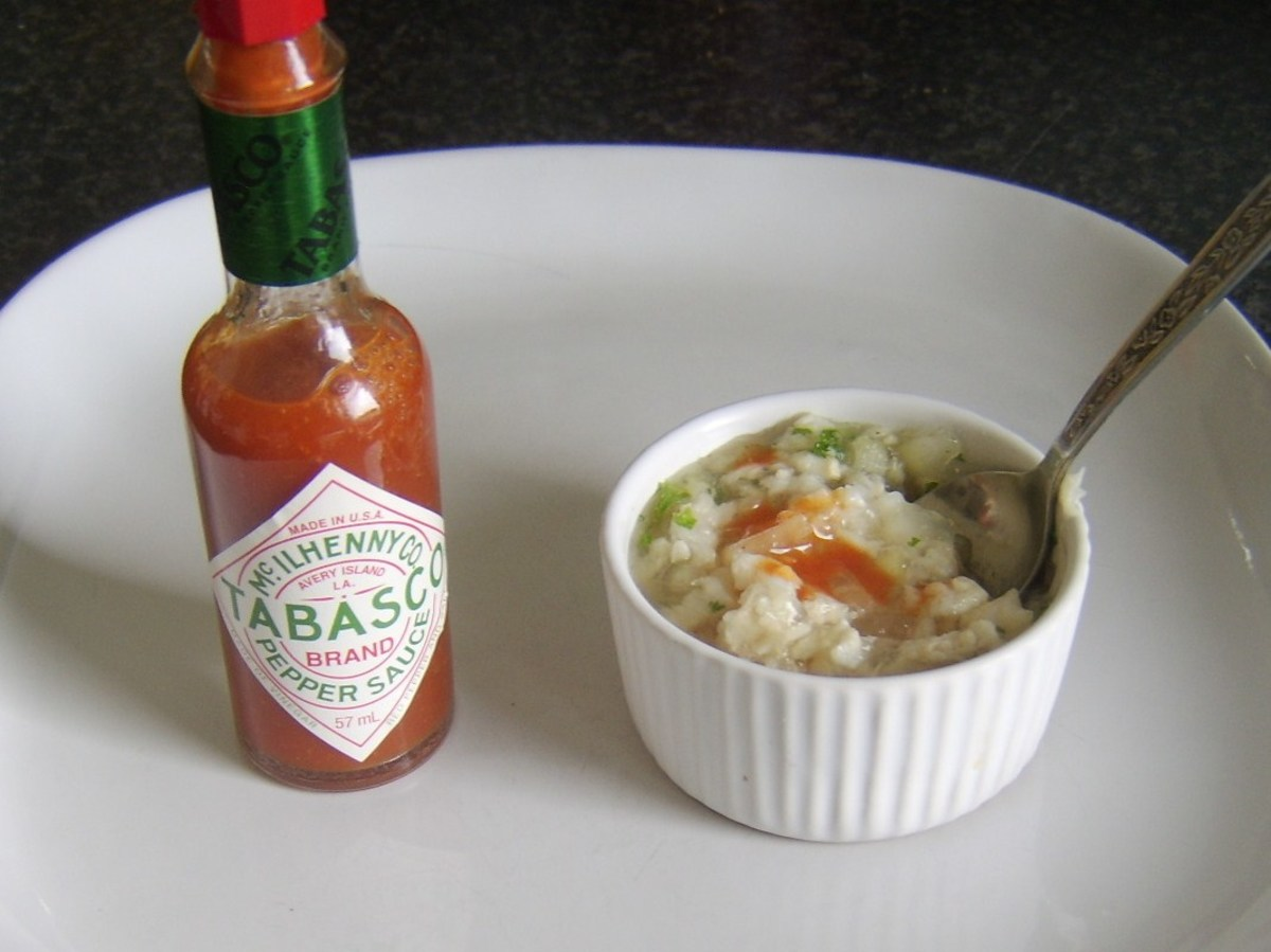 Tabasco sauce is added to jellied conger eel