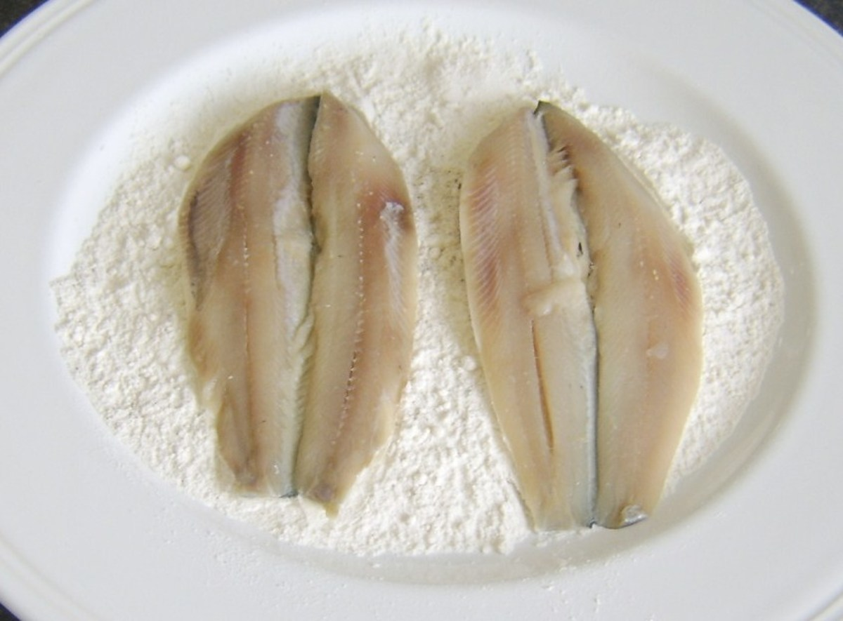 Herring fillets are patted in seasoned flour