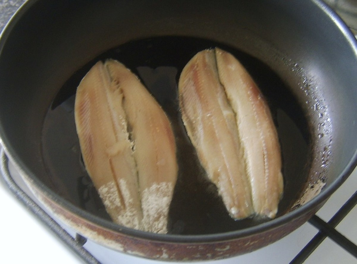 Pan frying herring fillets