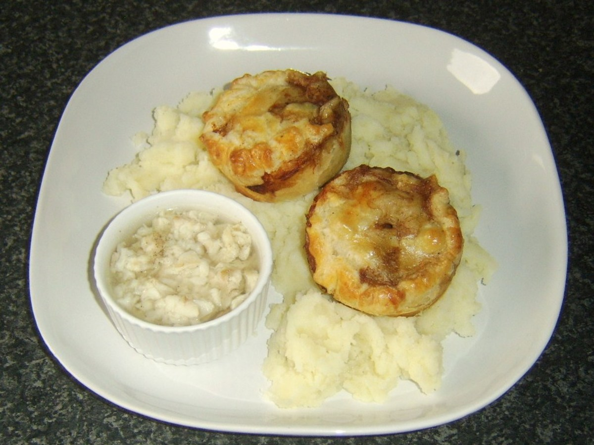 Pie and mash with jellied conger eel