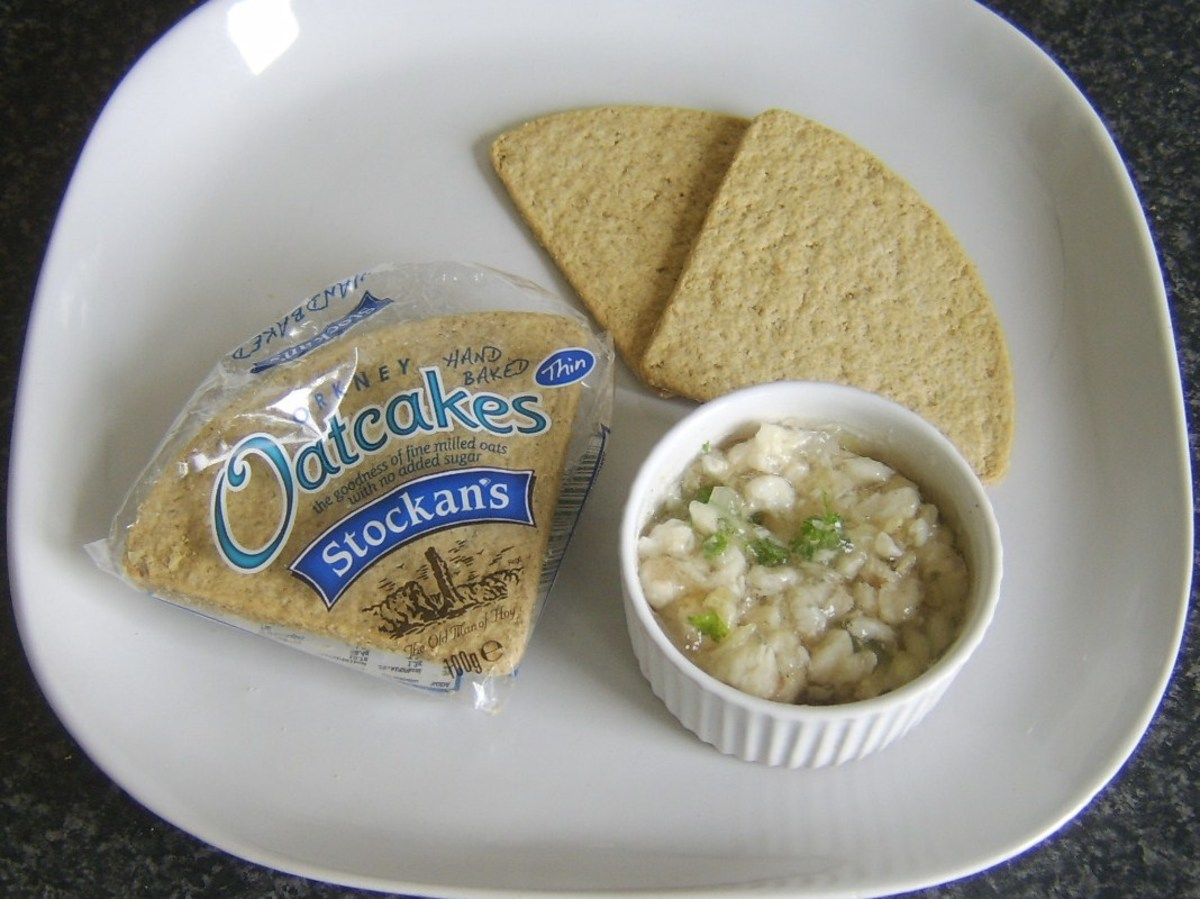 Oatcakes are plated with jellied conger eel
