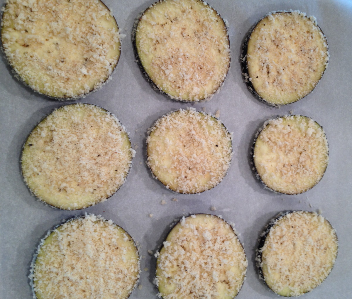 Arrange coated slices on a lined baking sheet.
