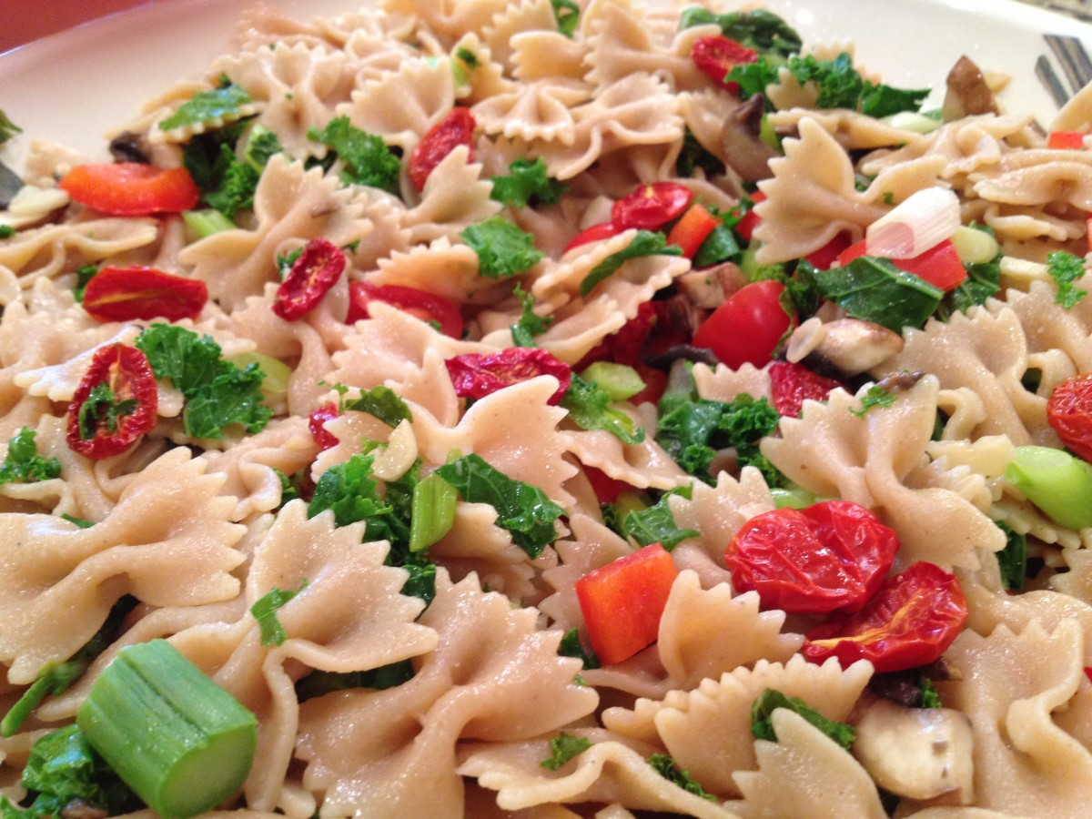 Oven-dried tomatoes added to pasta primavera.
