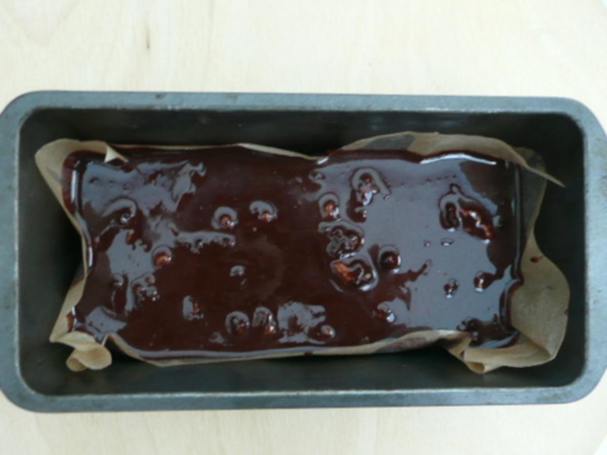 Pour chocolate into tin