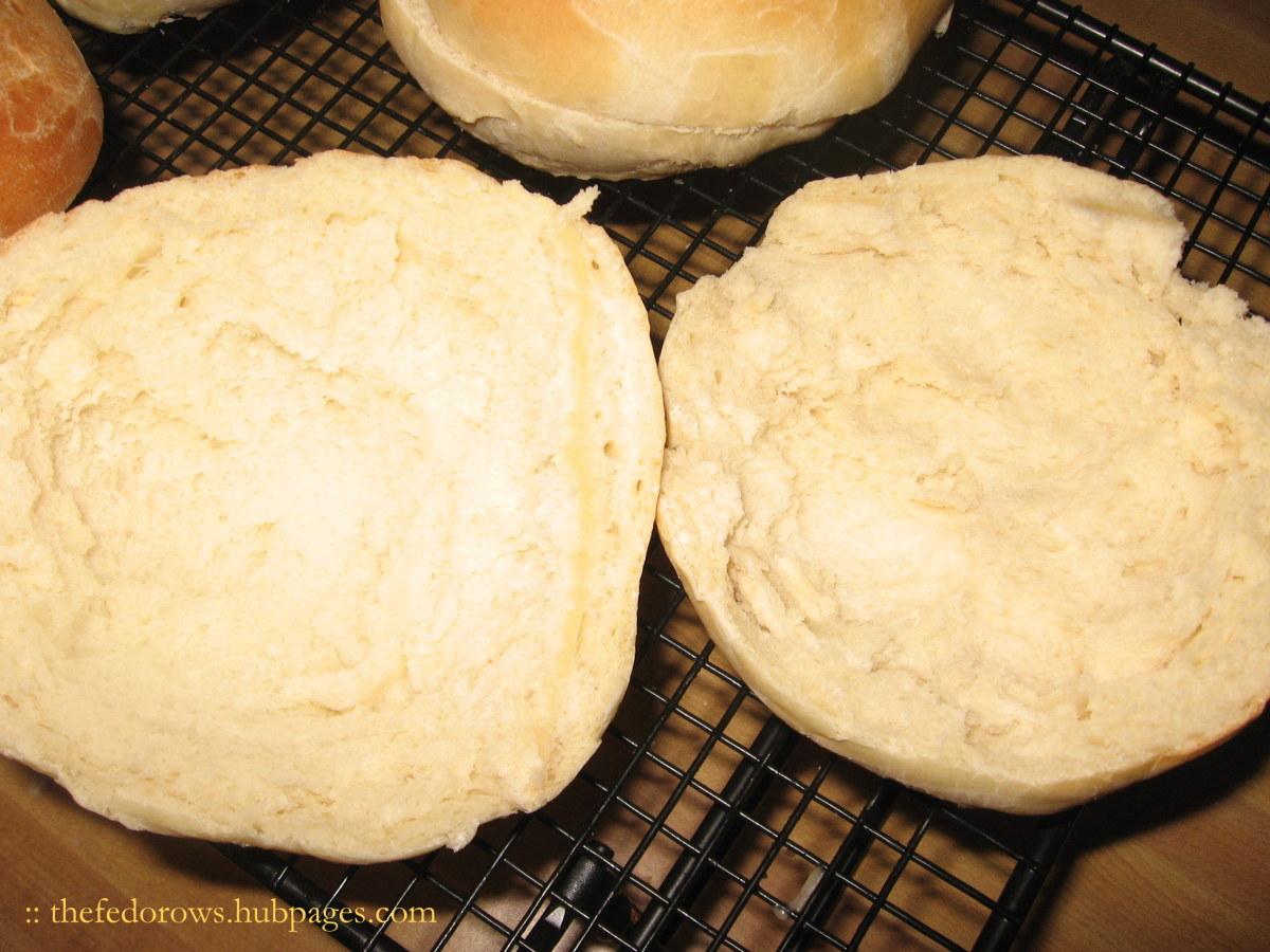 Hollowed out hamburger buns.