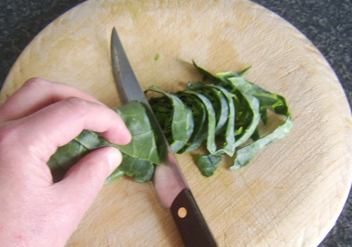 Starting to slice rolled cabbage leaf
