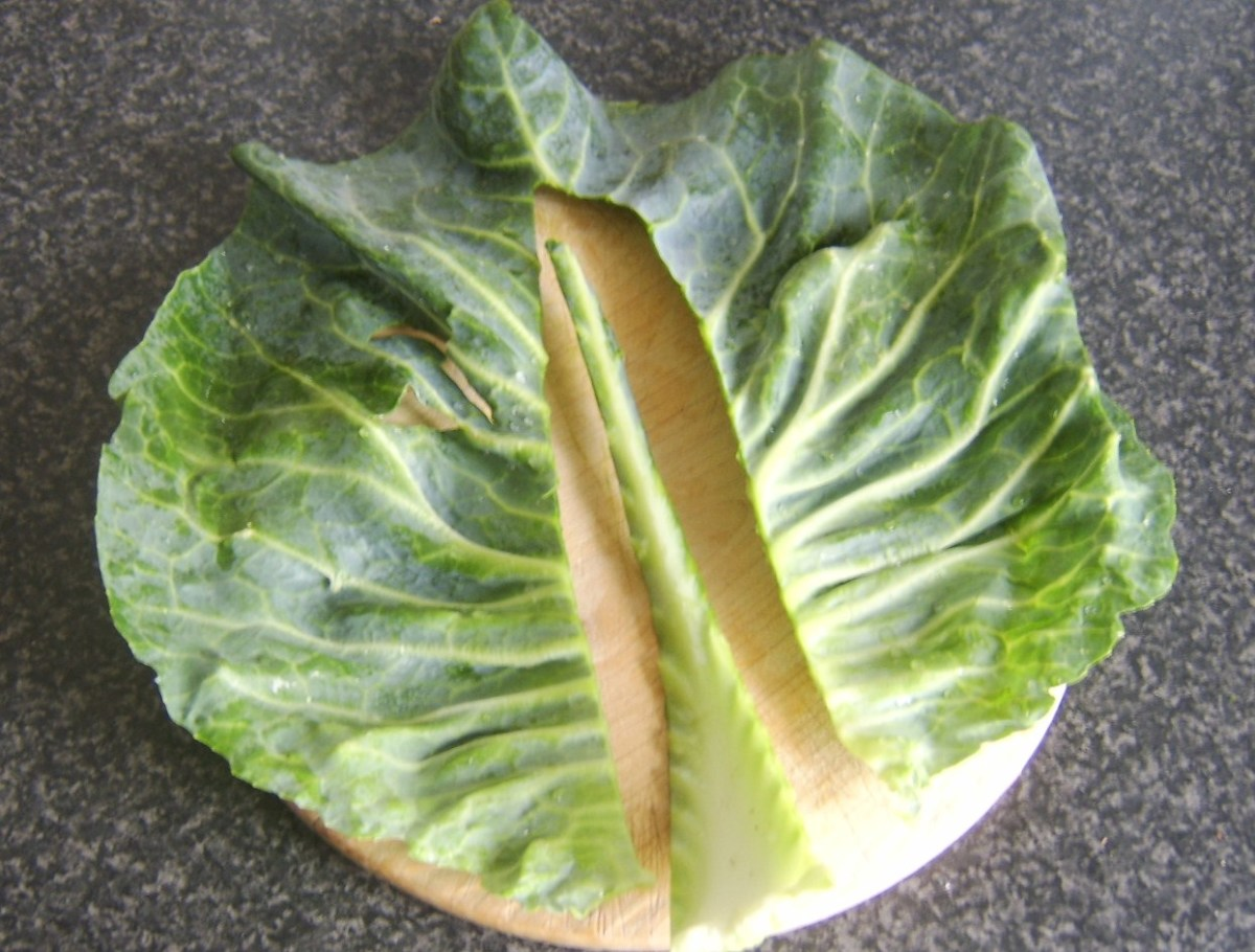 Removing stalk from Cabbage leaf