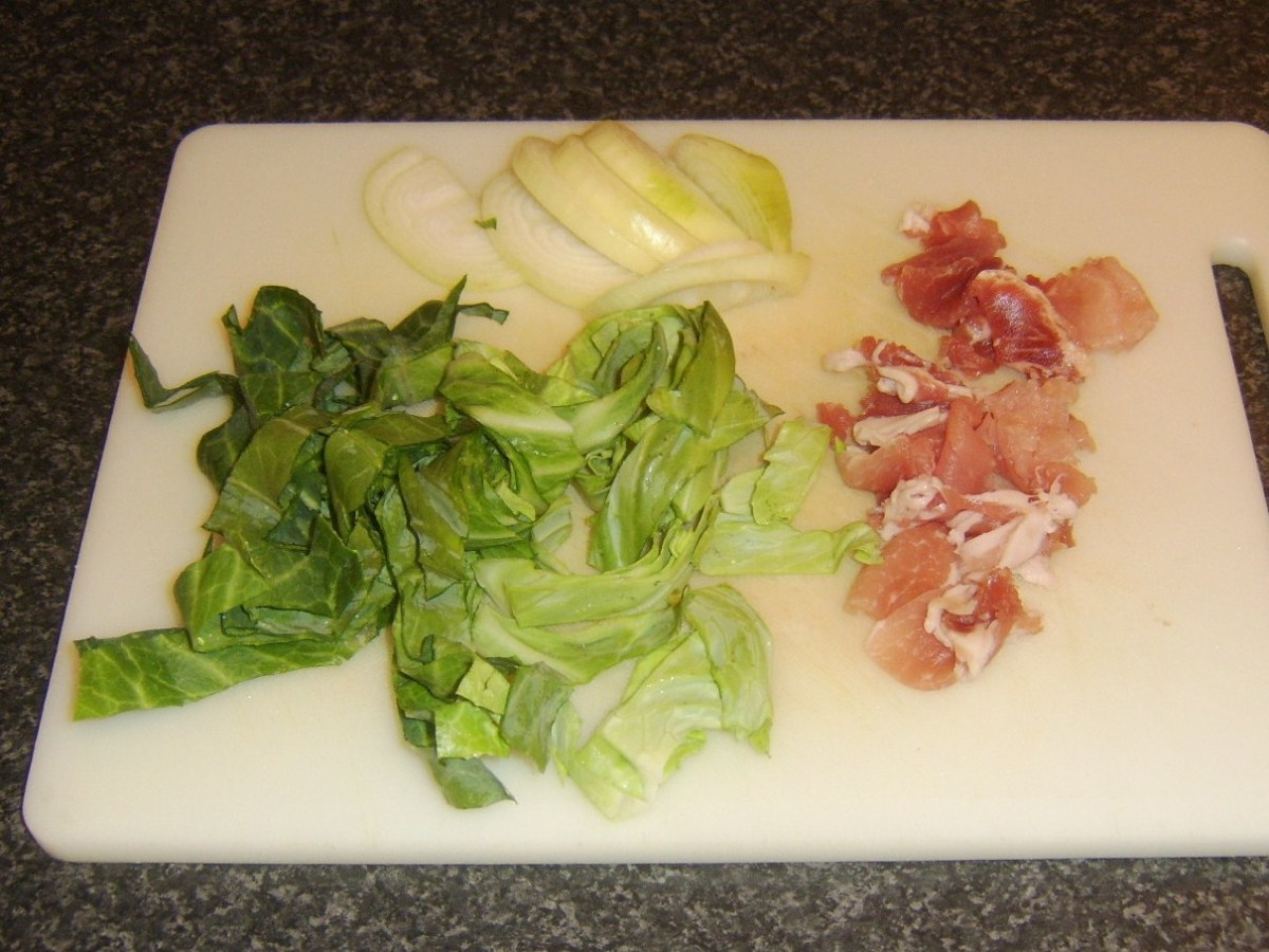 Sweetheart cabbage, bacon and onion ready for sauteeing