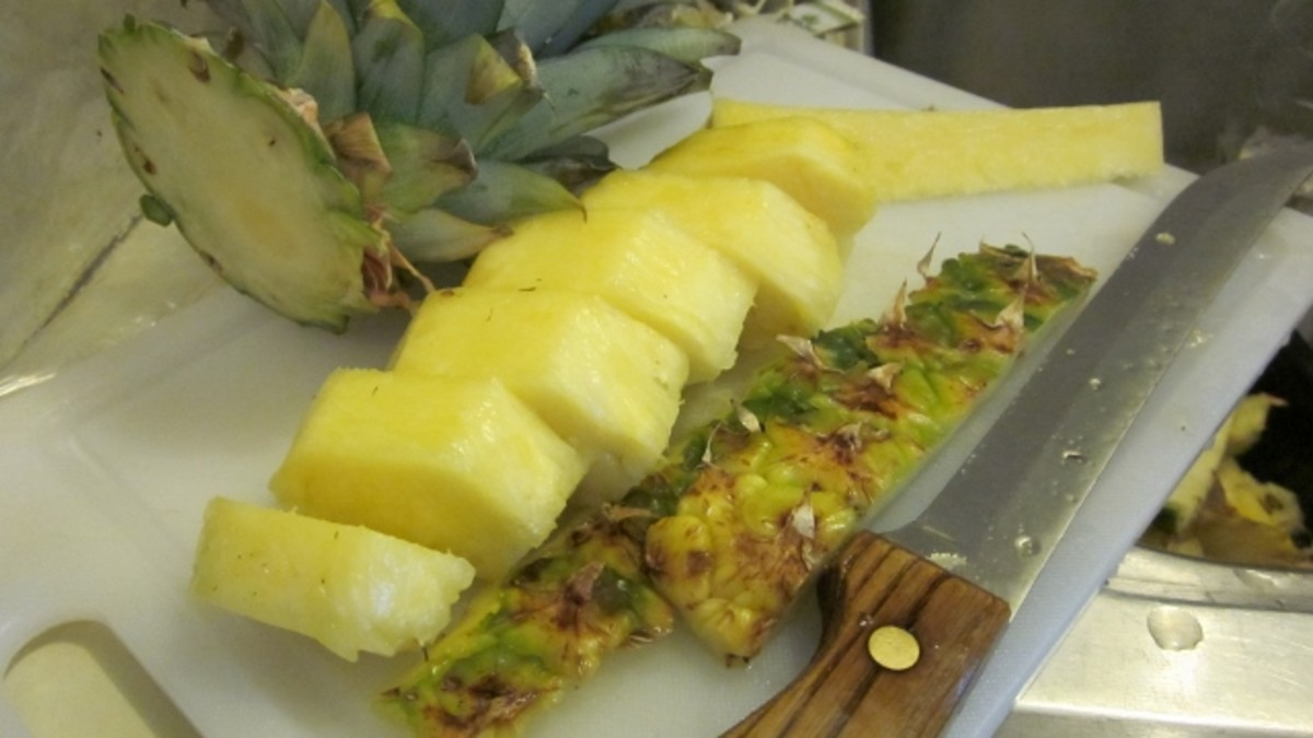 Carefully follow package directions for cutting pineapple. For safer cutting, use a pineapple corer.