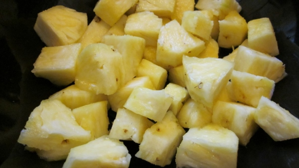 Pineapple is cut into large chunks.