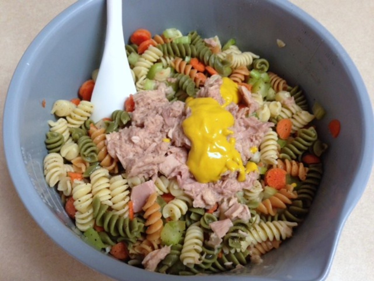 Chill all ingredients of the Tuna Pasta Salad before adding mayo.