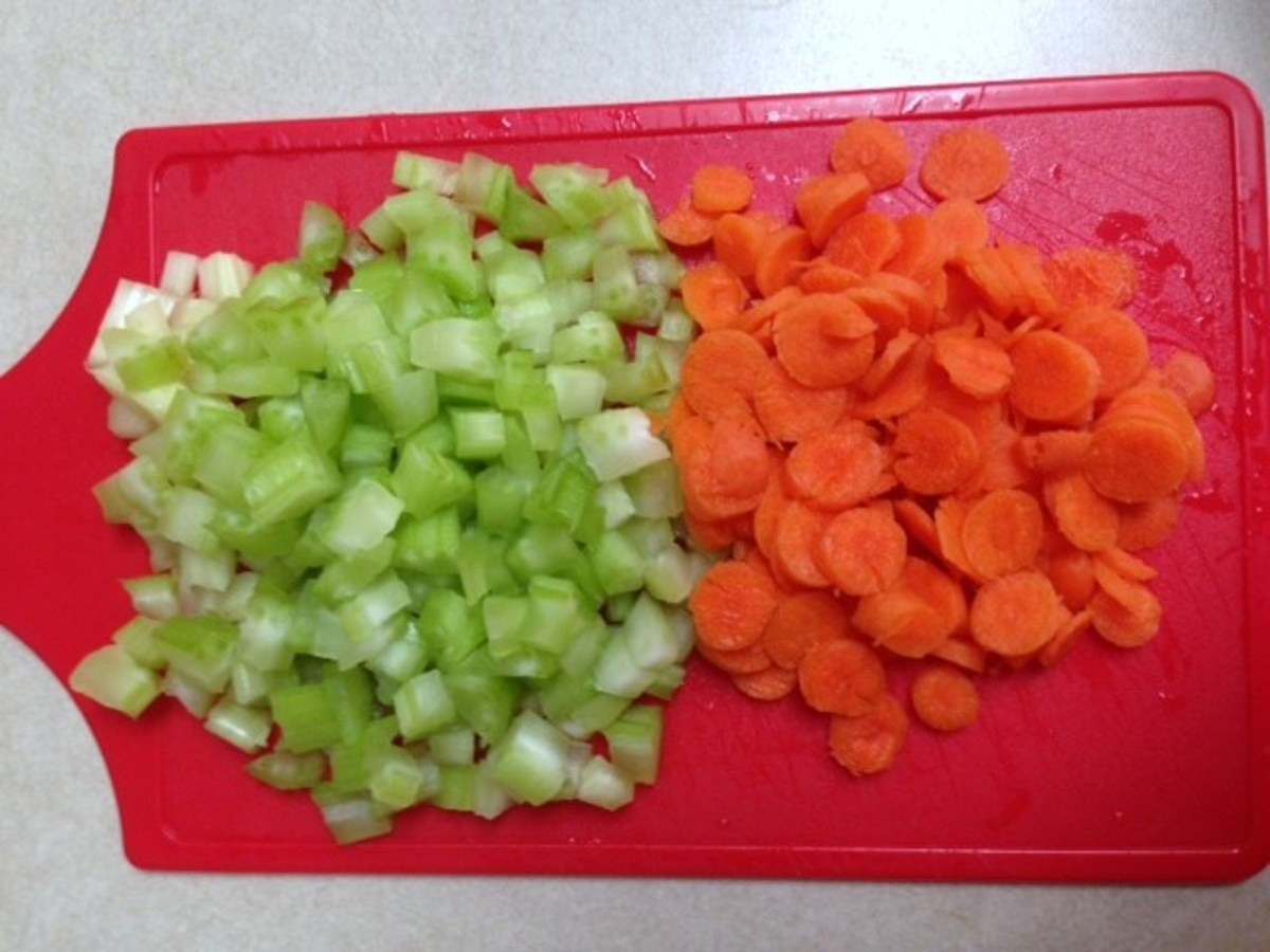 Diced celery and sliced carrots add crunch and color to a Cold Tuna Pasta Salad.
