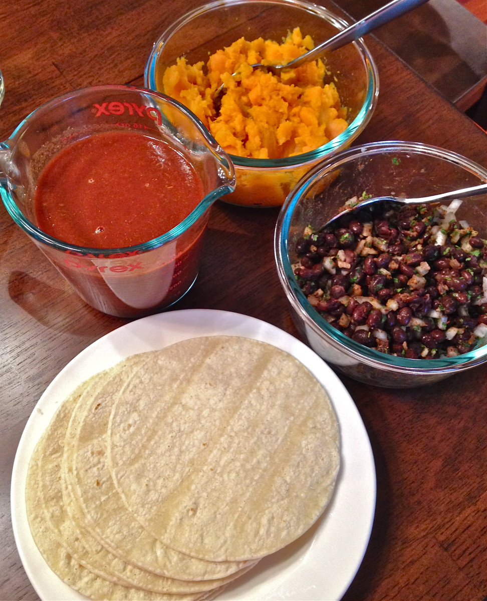 Some of the ingredients for the enchiladas.