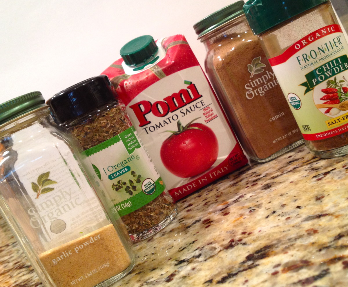 The ingredients for the homemade enchilada sauce.