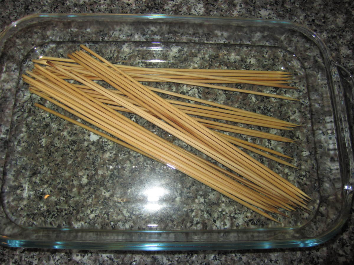 Here are the skewers after soaking over night.