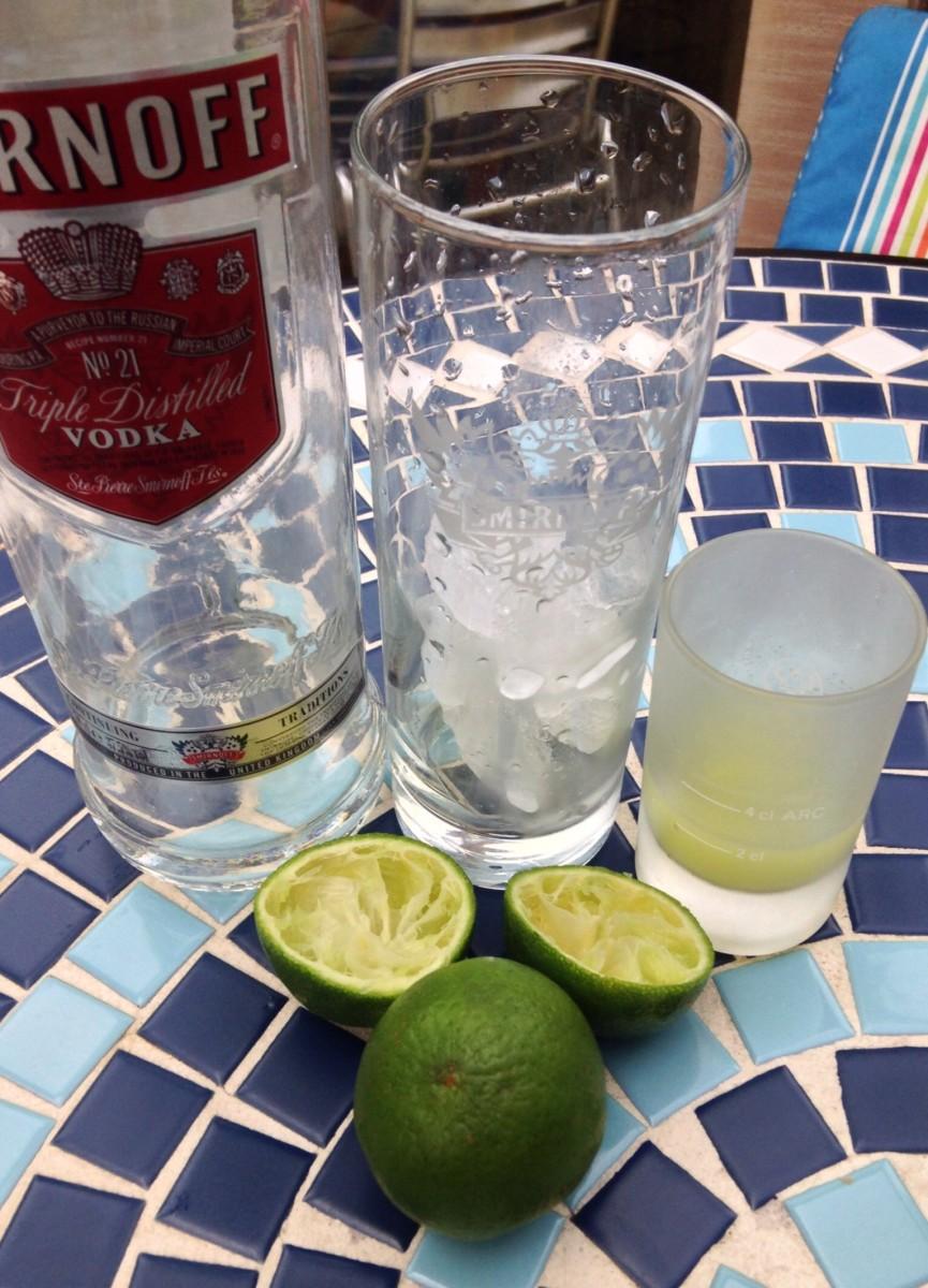 Vodka, Lime and Soda in Progress