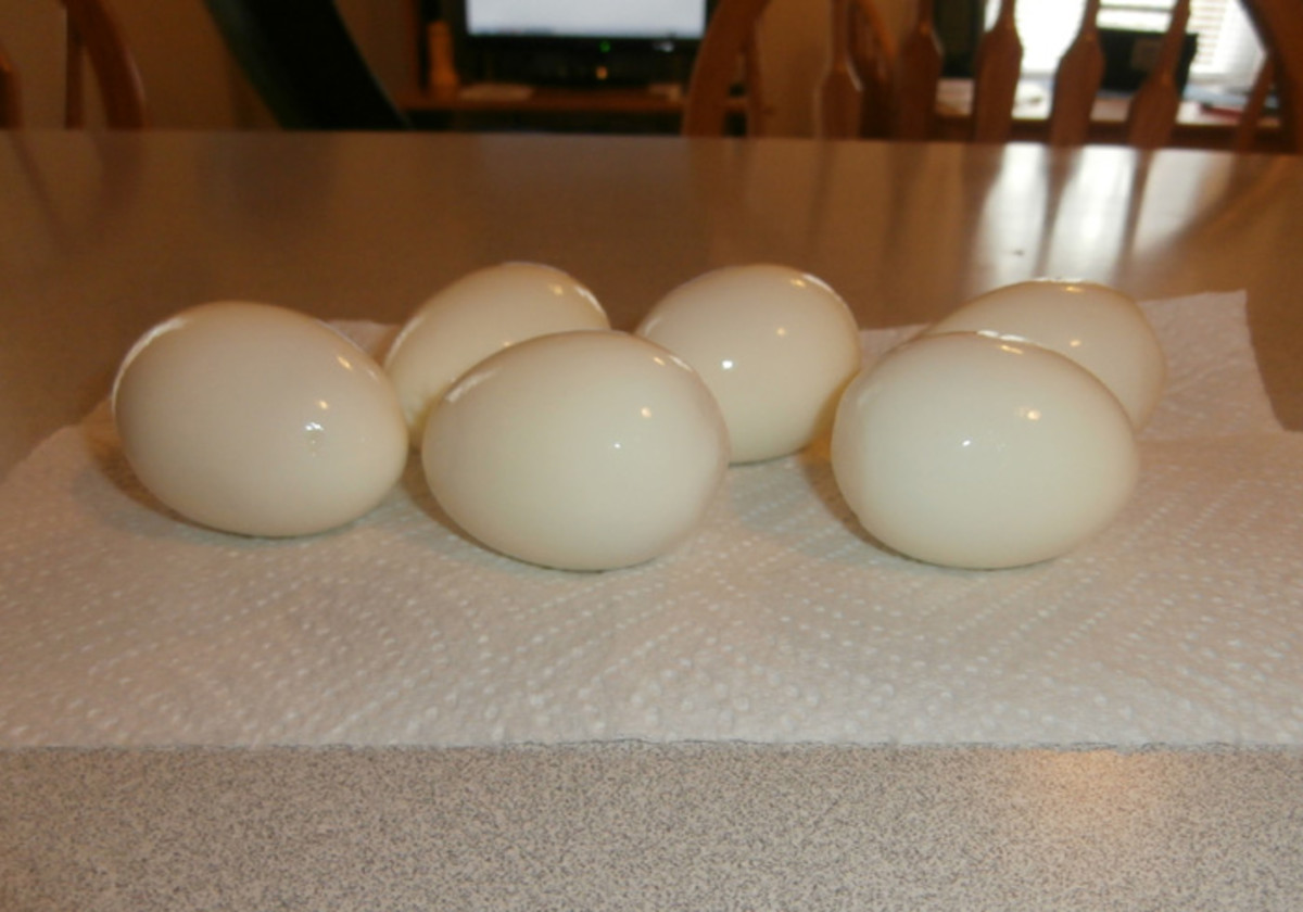 Rinse your peeled eggs to make sure all of the little bits of shell are all gone. These eggs were peeled using the method on this page.