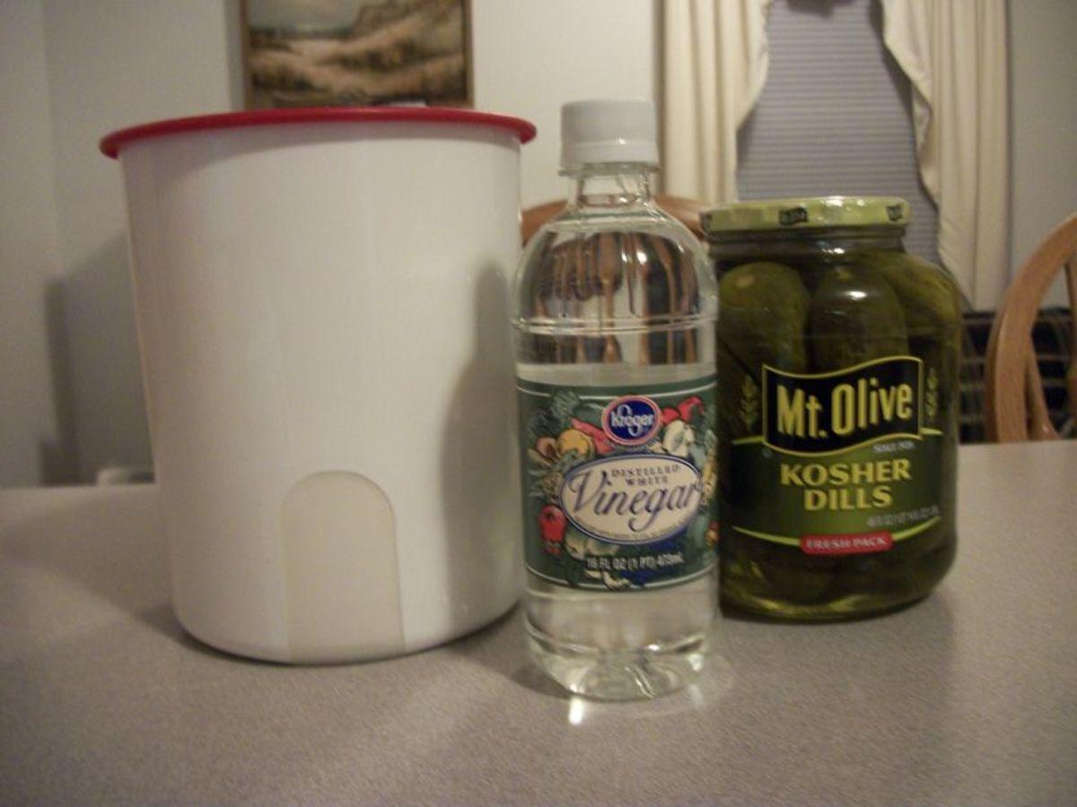 Gather your ingredients: Kosher dill pickles, white vinegar, sugar