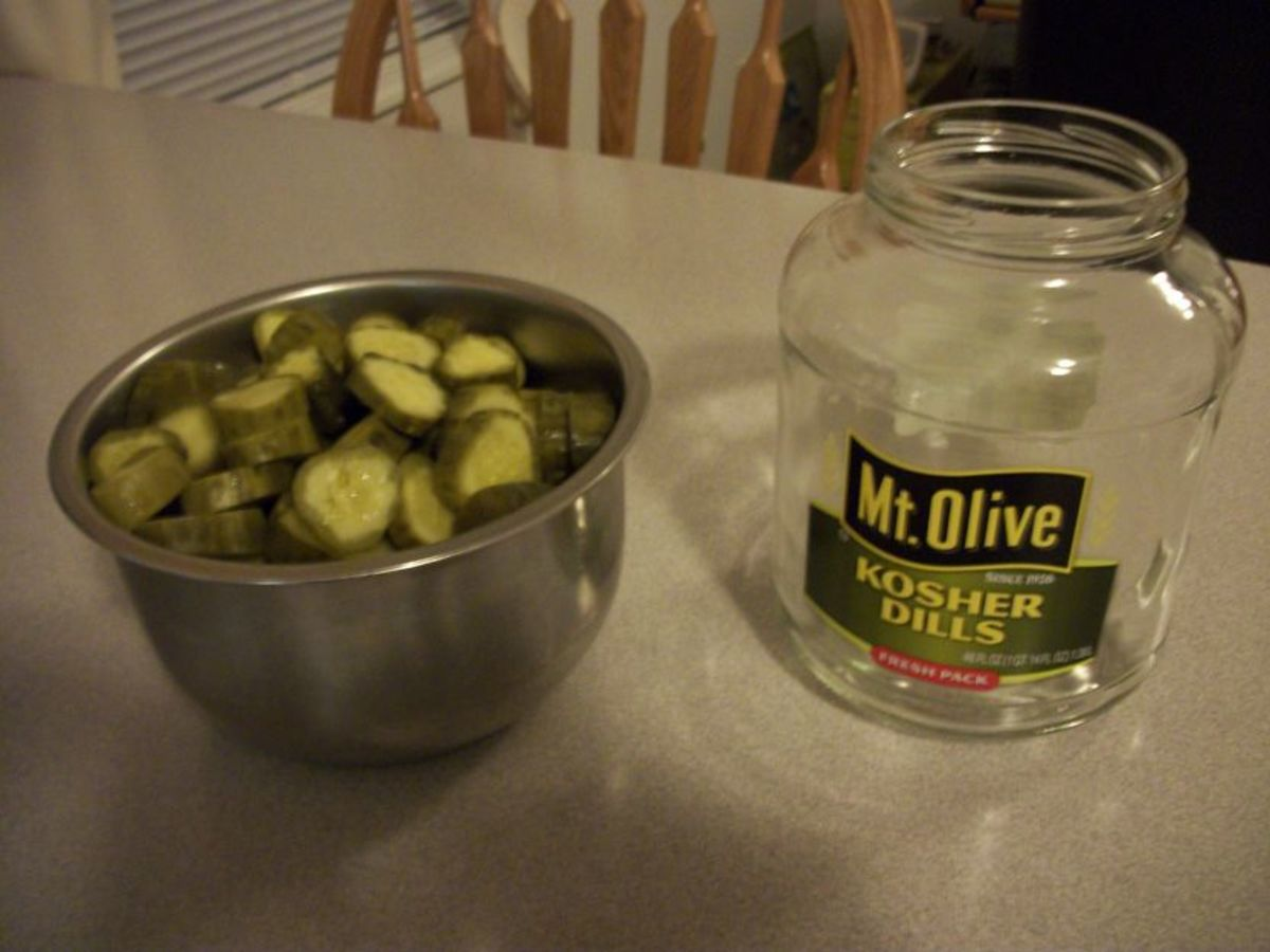 Slice your dill pickles into medium thick slices.