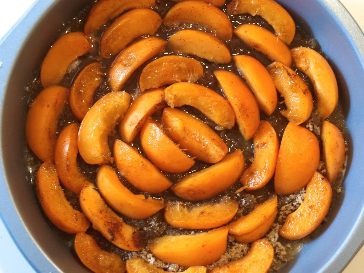 Arranged fruit ready for the batter.
