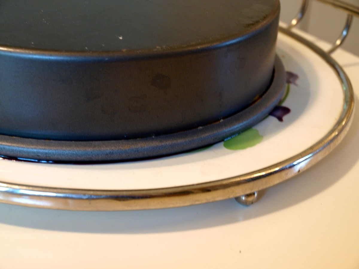 Let the overturned pan rest for a few minutes then carefully remove it.