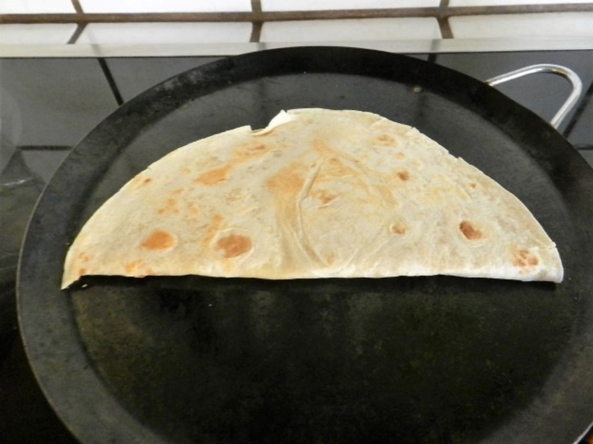 Fold the tortilla over the filling and flip to brown the other side. Your hot lunch is done.