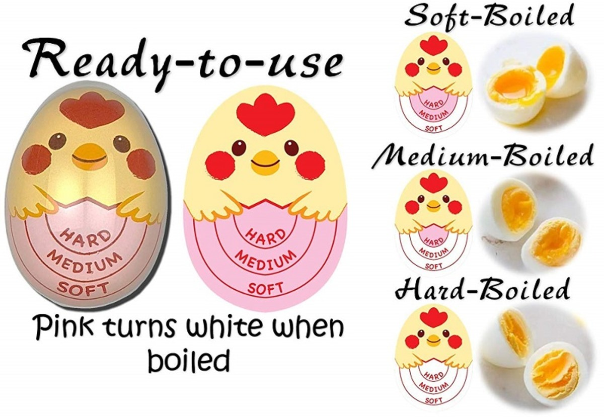 The Cheeky Chick egg-timer is placed  with the eggs in a pot and changes color when the eggs are ready.