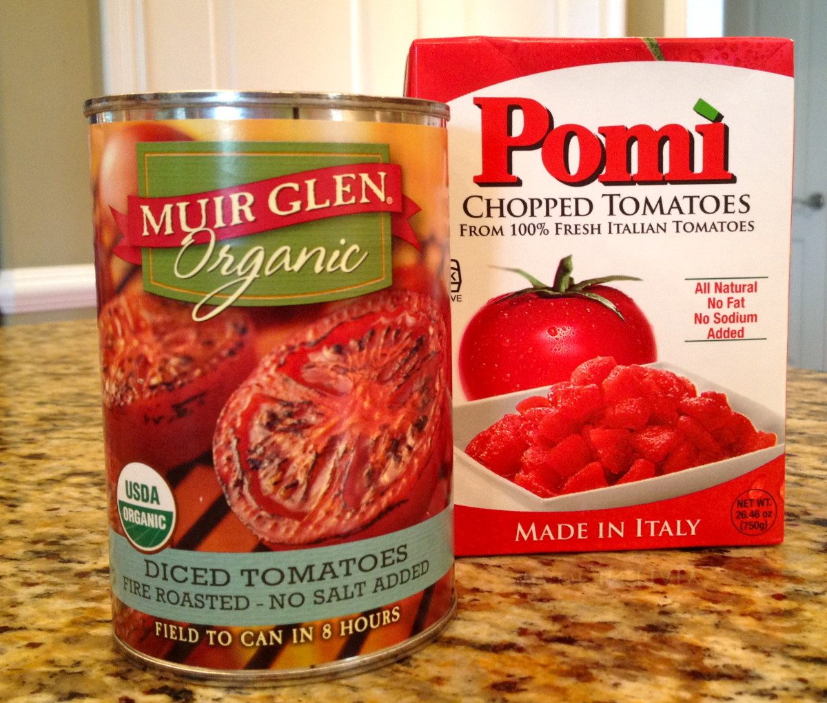 Choose no-salt-added chopped or diced tomatoes. Two good brands to try are Pomi and Muir Glen.