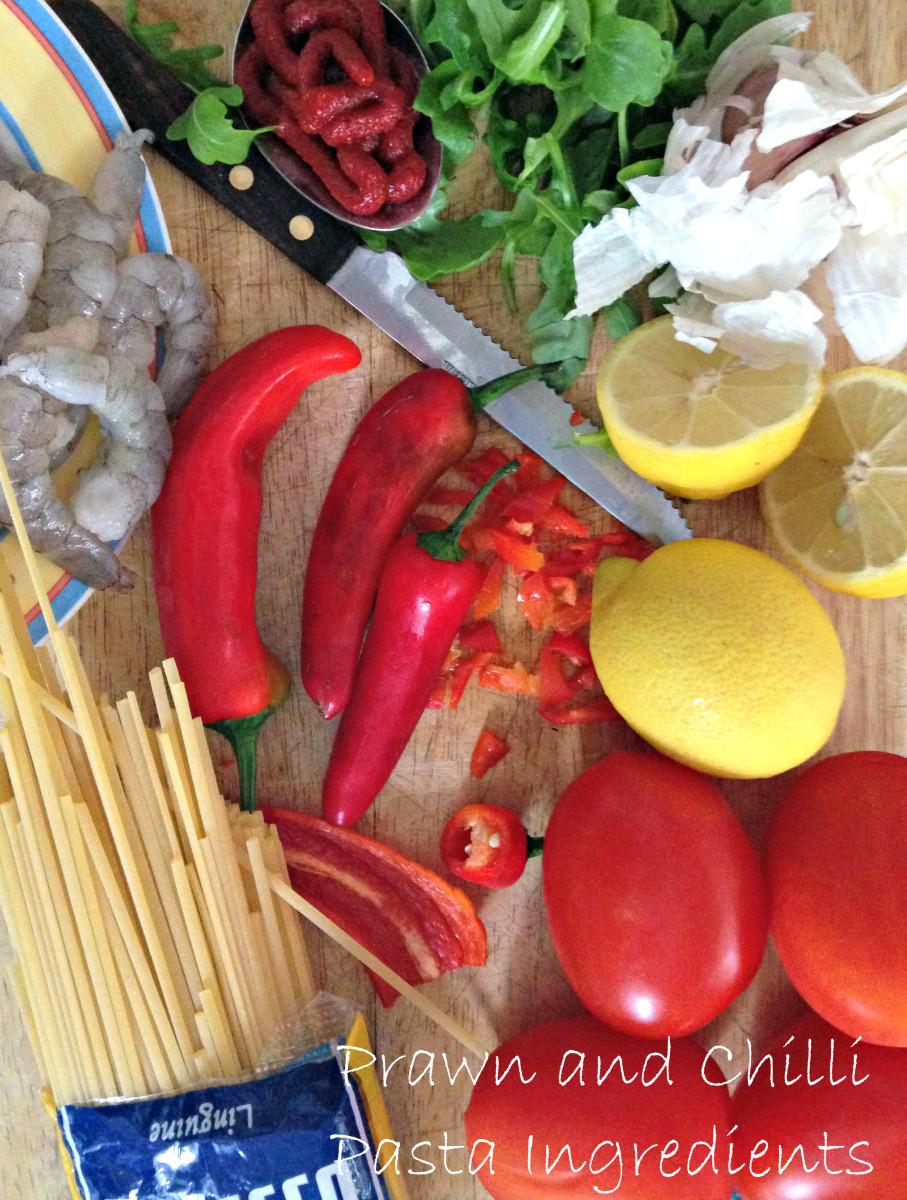 Prawn and Chilli Pasta Ingredients