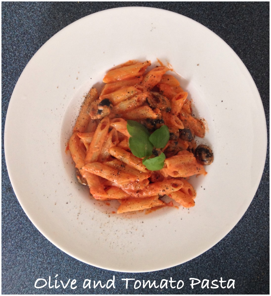 Olive and Tomato Sauce Pasta with Creme Fraiche