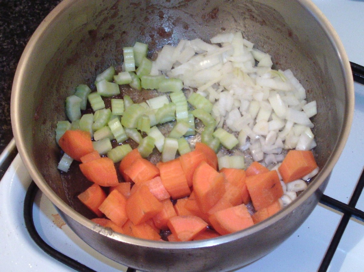 Diced vegetables ready for sauteeing