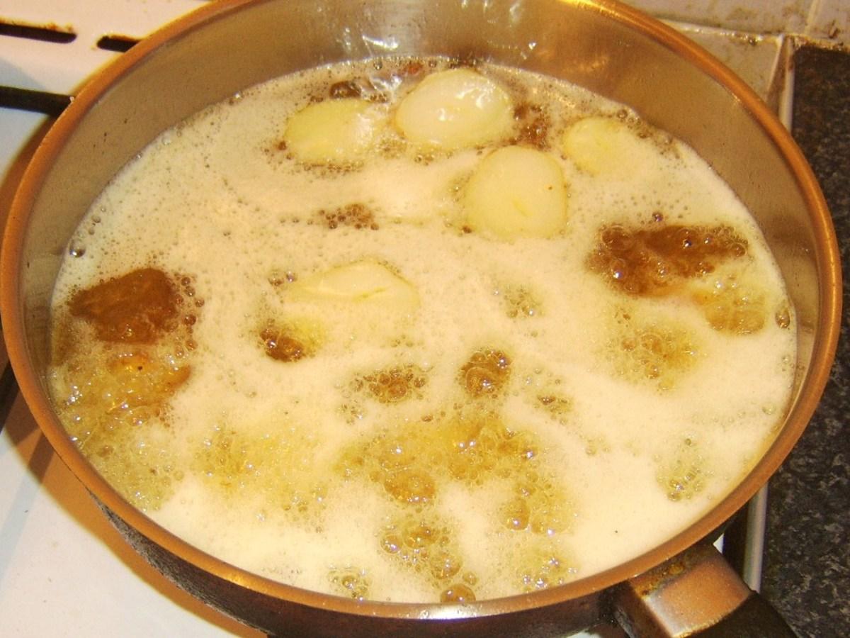 Deep frying potato halves