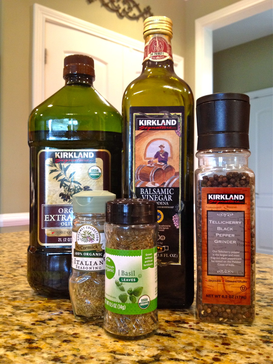 Olive oil, balsamic vinegar, and spices.