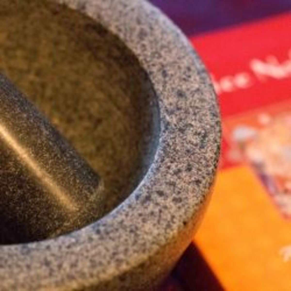 Granite mortar and pestle - heavy, but fabulously quick to grind spices!