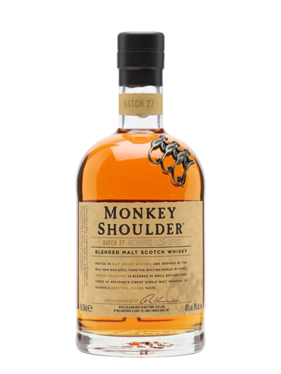 Monkey Shoulder. A William Grant whisky that tastes excellent whether drunk neat or mixed in a cocktail. Monkey Shoulder delivers a rich and spicy experience for your palate, complete with berries, honey, and nutmeg.