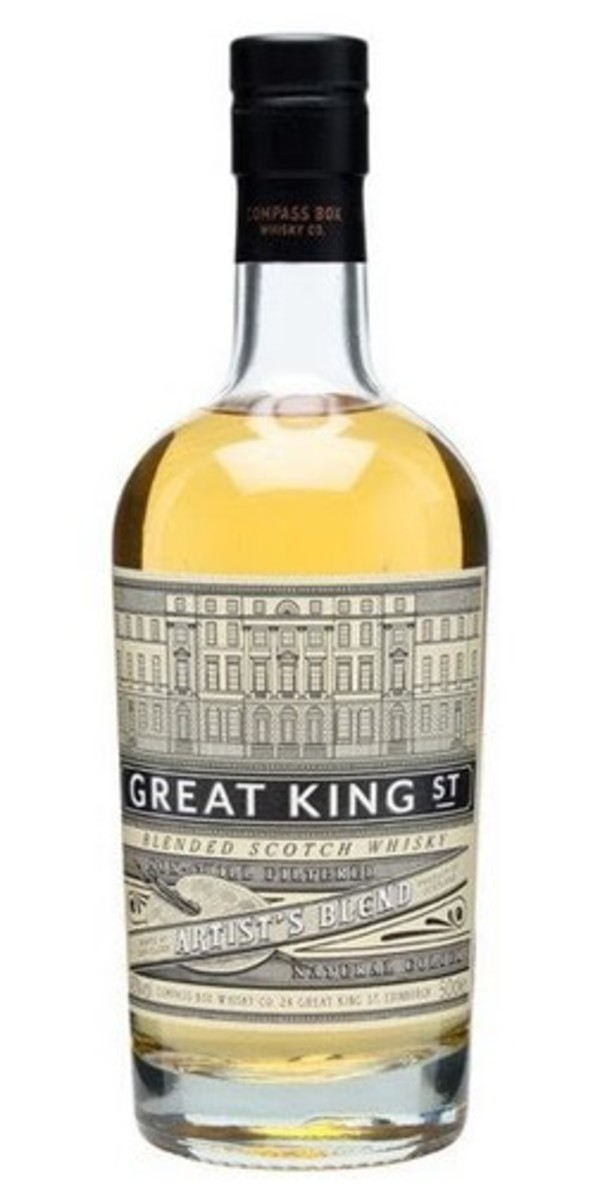 Great King Street - Compass Box Whisky - Artist's Blend. This whisky is a great crowd-pleaser that offers delicious complexity for a very reasonable price. Suitable for both beginners and connoisseurs alike, it offers a rich and fruity experience.