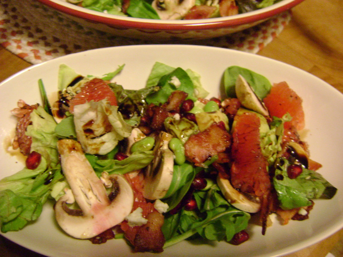 Let your guests drizzle raspberry balsamic on top of their grapefruit avocado pomegranate spinach salad and enjoy.