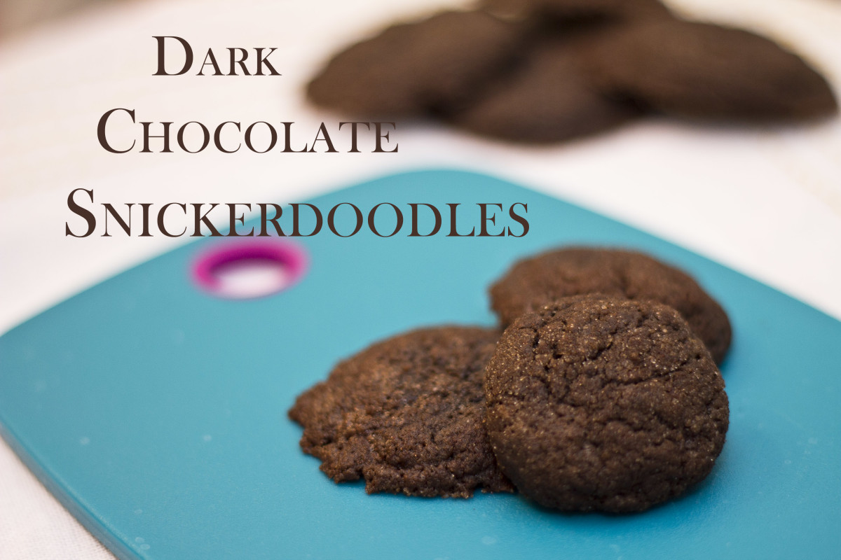 Freshly baked dark chocolate snickerdoodle cookies.