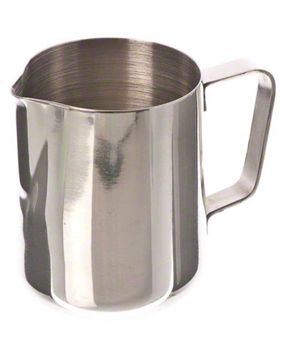 The EP-12 is very difficult to beat in terms of value for money.  Constructed from stainless steel, the frothing pitcher is sturdy, durable, and elegant in appearance. The EP is available in 12 ounce and 20 ounce sizes.