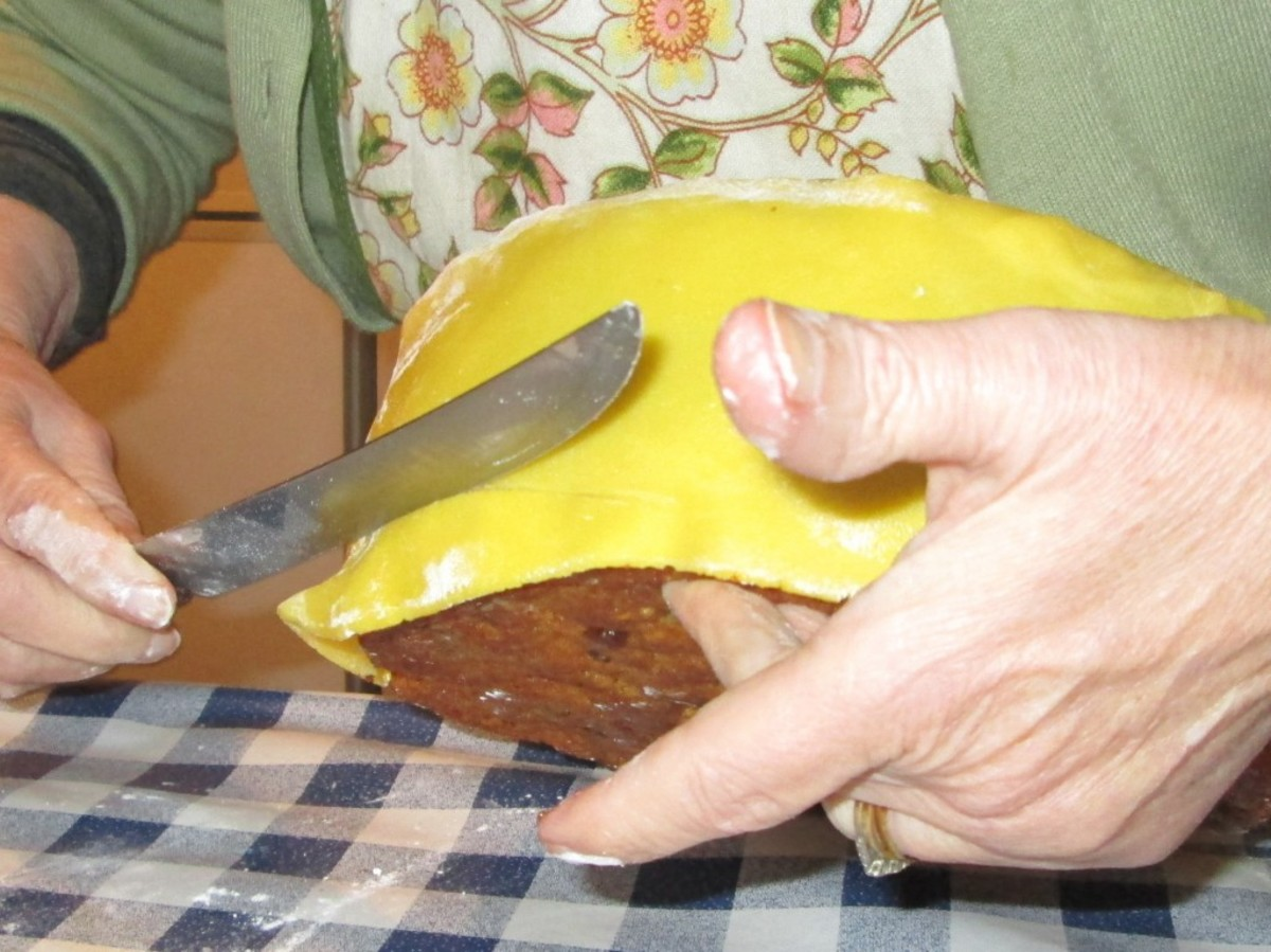 Adding the Marzipan to the Cake