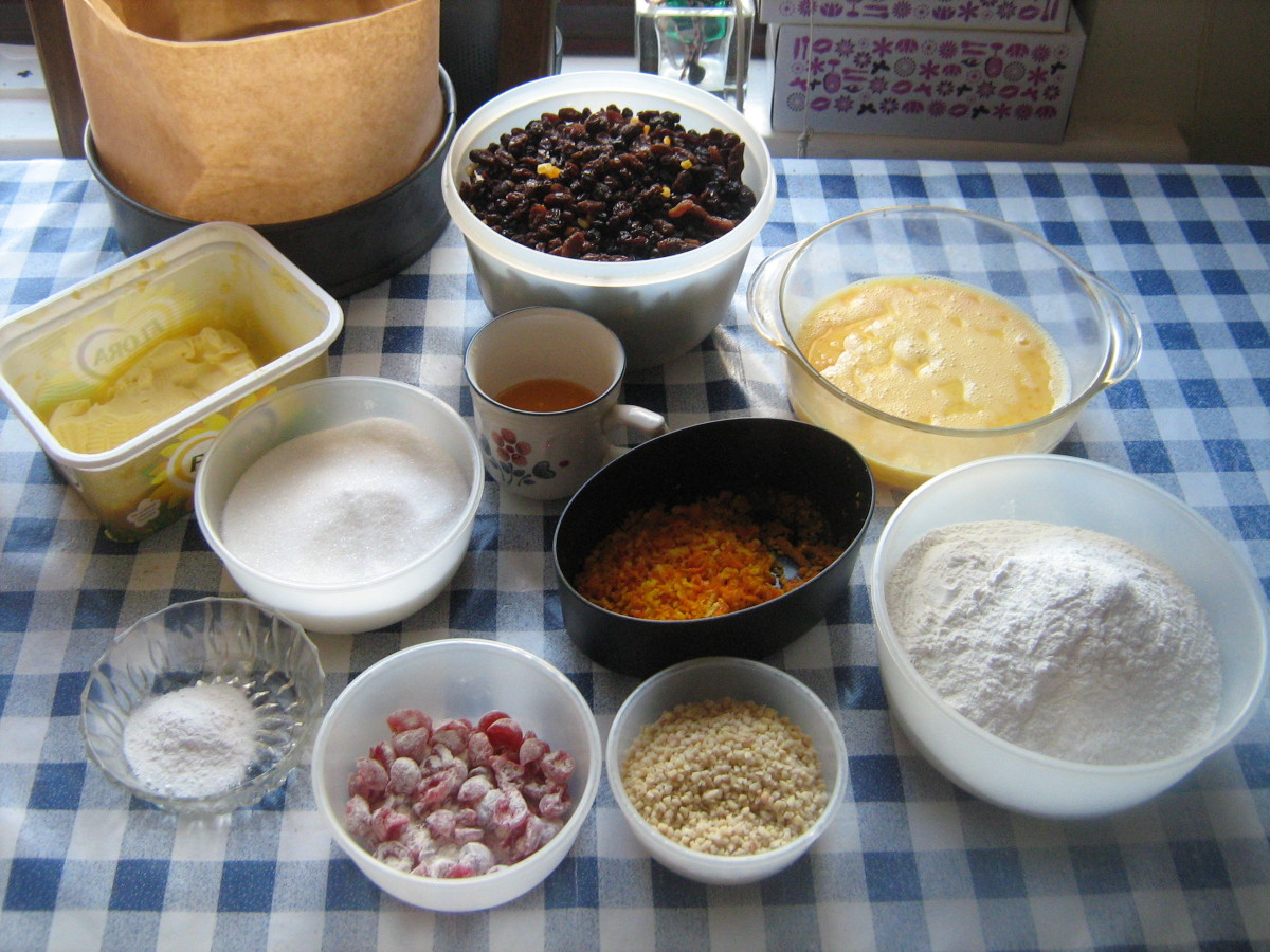 The ingredients for making an fruitcake from scratch