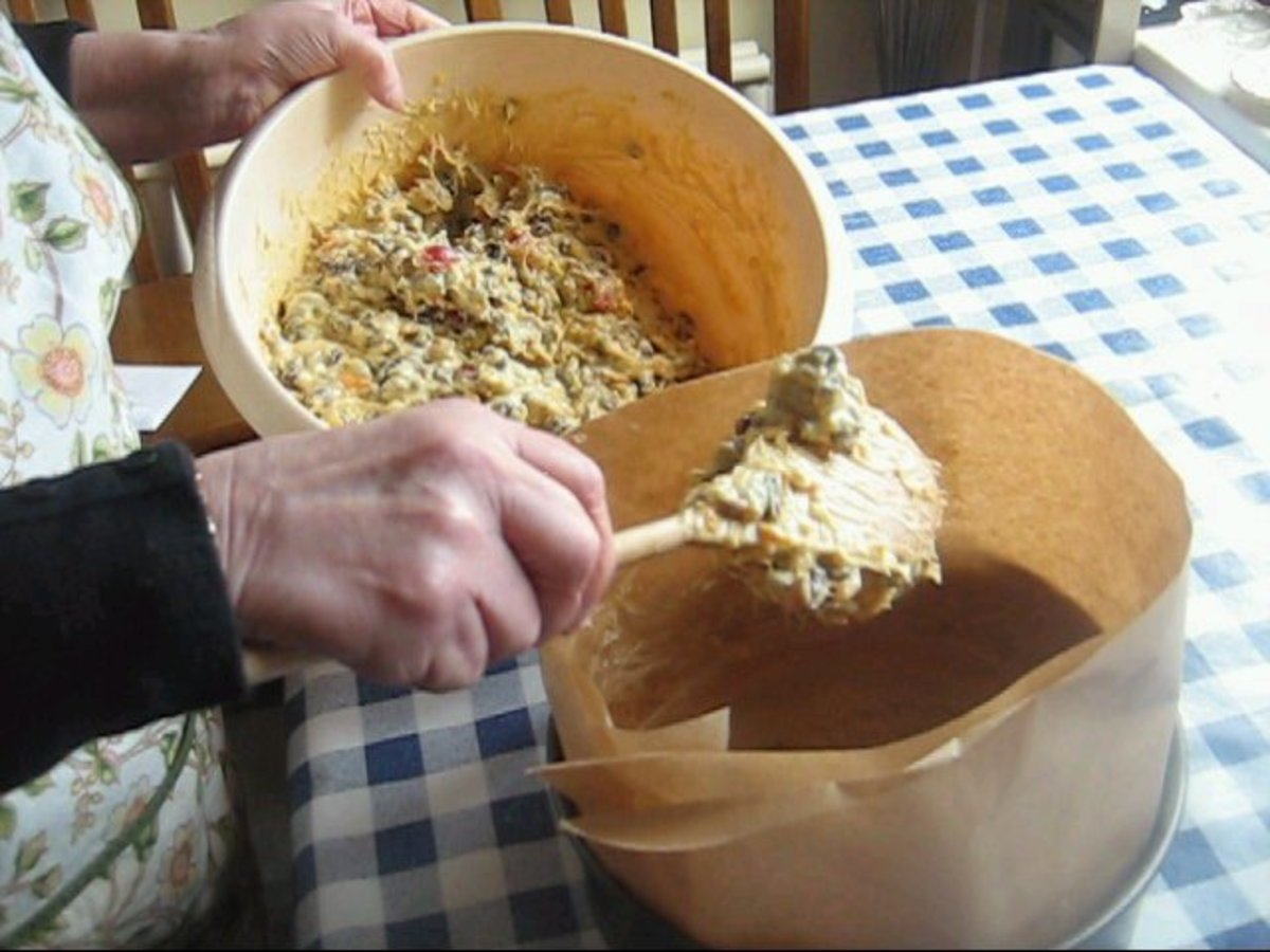 Gradually place the Mixture into the Cake Tin