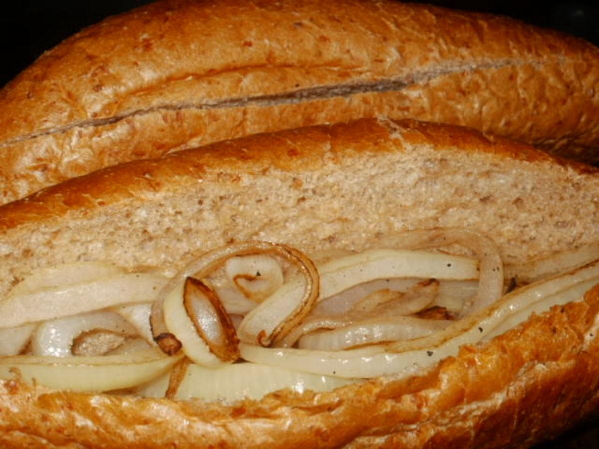 Place onions in hoagie rolls