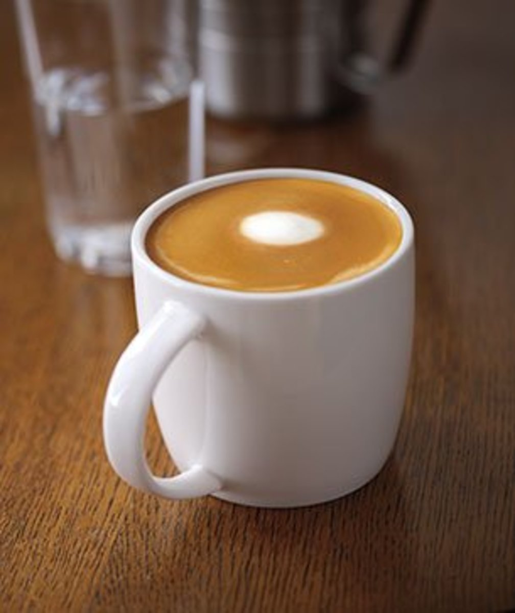 The Starbucks Flat White, with the signature dot.