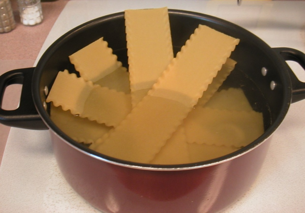 I like to add the noodles to a pan of boiling water one at a time.