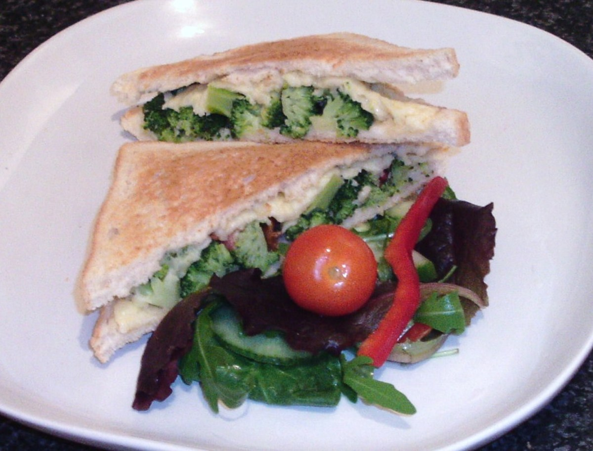 Broccoli and bacon cheese toastie with simple side salad